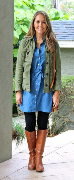 military jacket with button up chambray dress