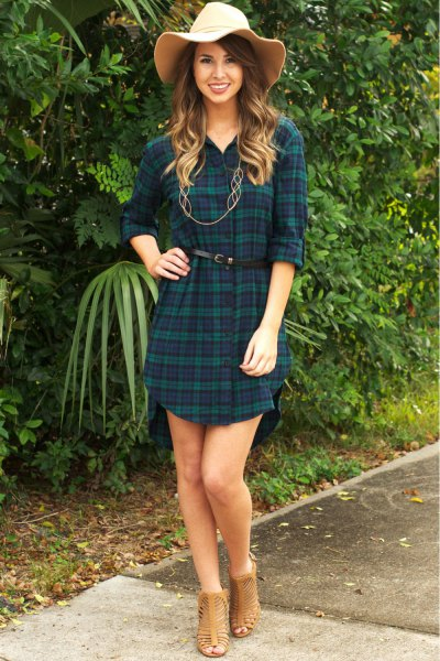 navy and green plaid belted tunic with straw floppy hat