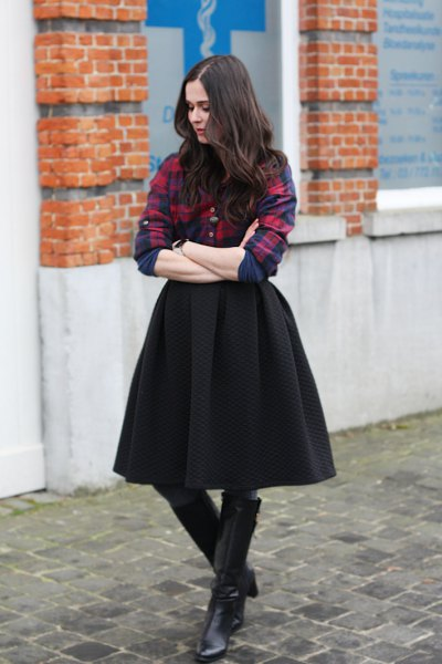 navy and red plaid boyfriend shirt with black midi skirt