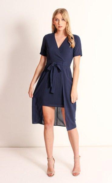 navy high low mini wrap dress