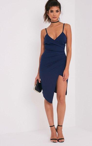 navy high split mini deep v neck wrap dress with choker