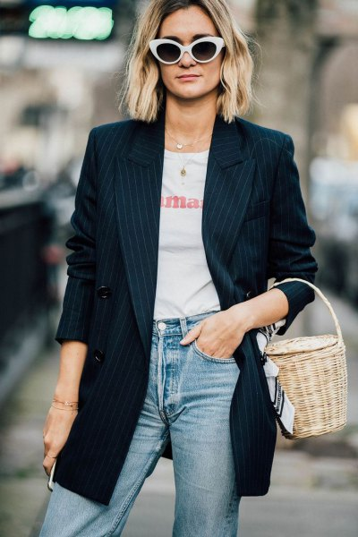 navy striped oversized blazer with white print tee