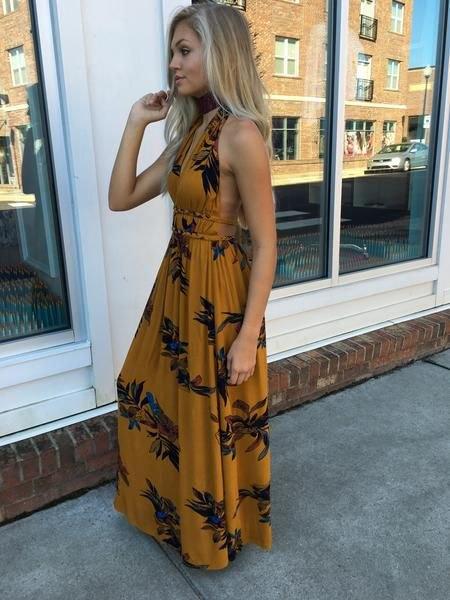 orange and black floral printed backless maxi sundress