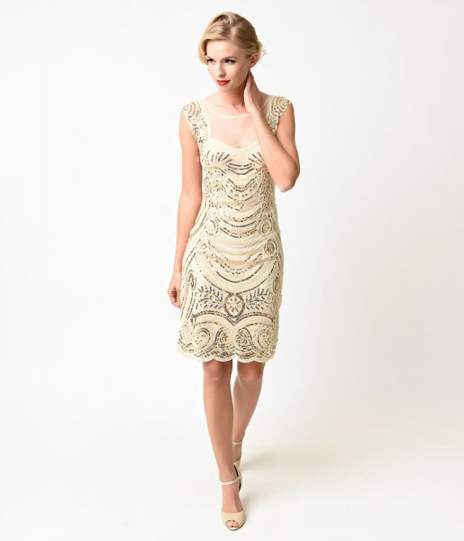 pale pink and silver sequin gatsby style midi dress