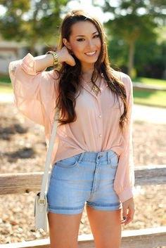 pale pink chiffon shirt with light blue high waisted denim shorts