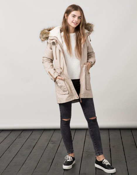 pale pink parka coat with white sweater