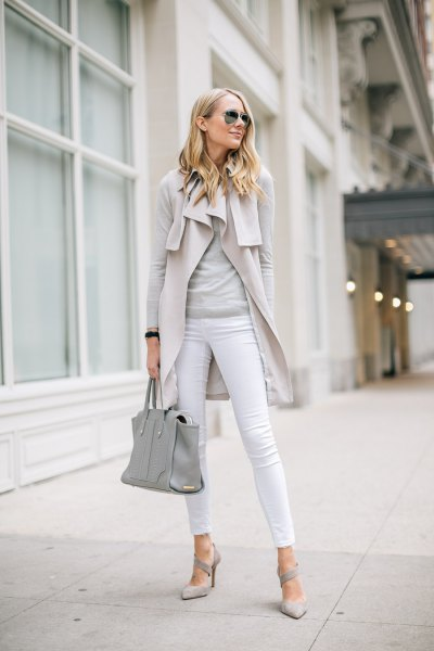 pale pink sleeveless coat with grey long sleeve tee