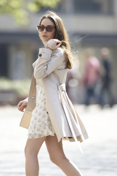 pale pink tie waist mini coat dress