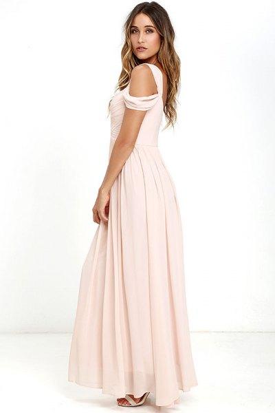 pink cold shoulder maxi floor length pleated chiffon dress