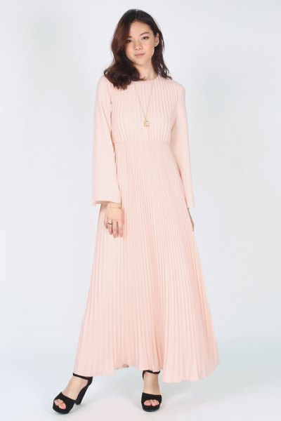 pink fit and flare long sleeve pleated maxi dress