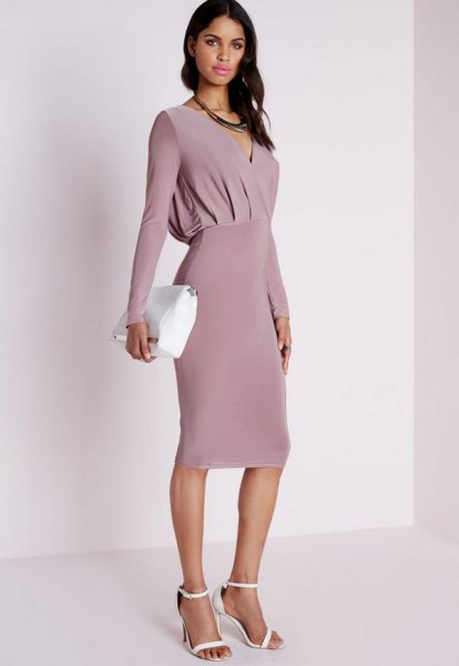 pink long sleeve bodycon midi dress