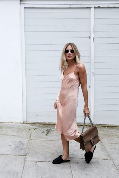 pink midi silk slip dress with black slide sandals