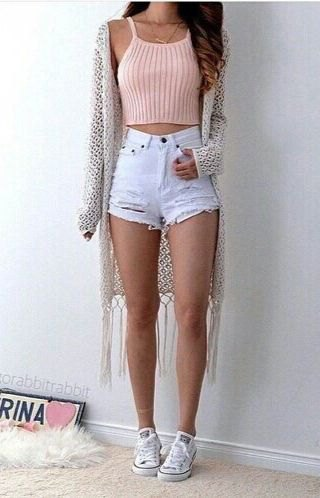 pink ribbed knit crop tank with fringe kimono