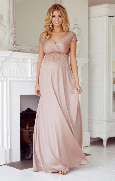 pink short sleeve maxi maternity wrap dress