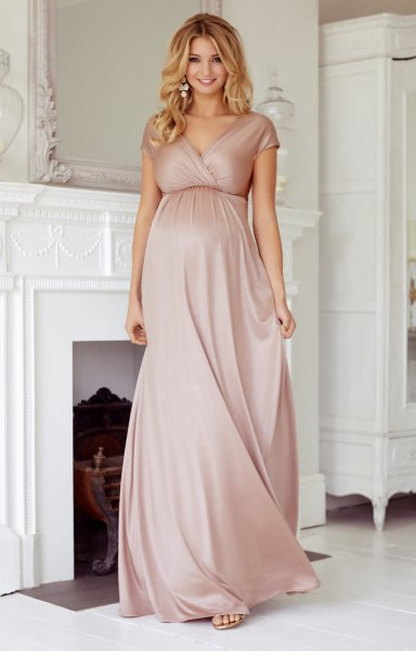 pink short sleeve maxi maternity wrap dress