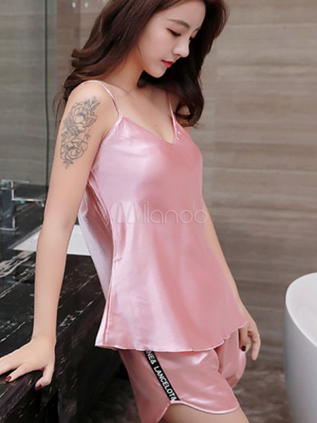 pink silk camisole with matching pajama mini shorts