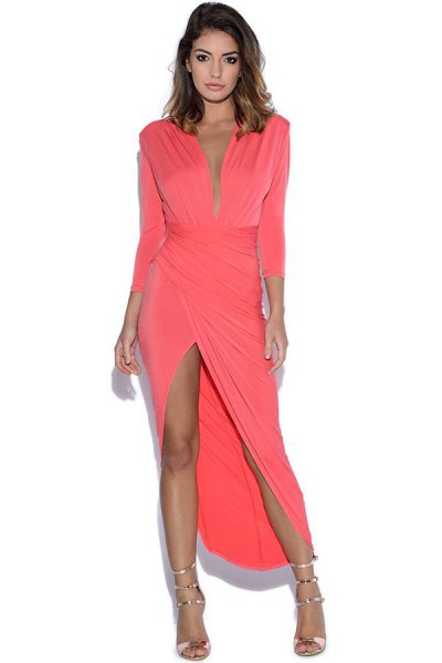 pink sleeveless plunge maxi wrap dress