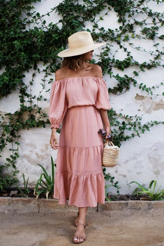 pink sundress ruffle off the shoulder