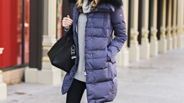 purple long bubble coat with grey cowl neck sweater