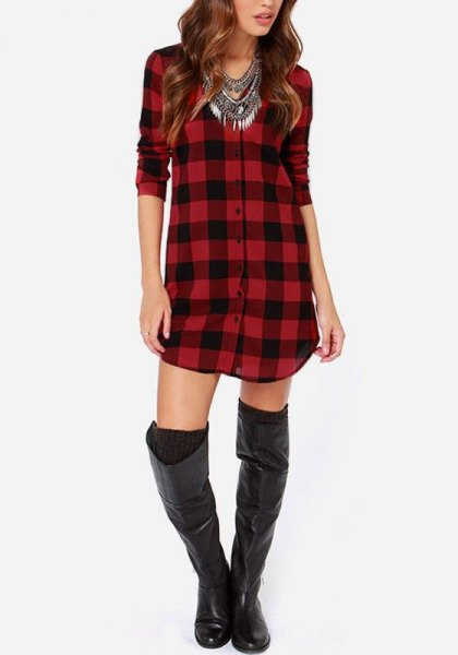 red and black plaid tunic with thigh high leather boots