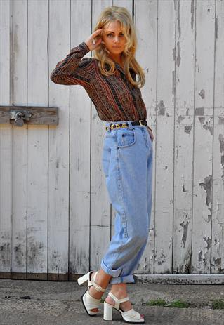 red and black printed shirt with high waisted vintage cuffed jeans