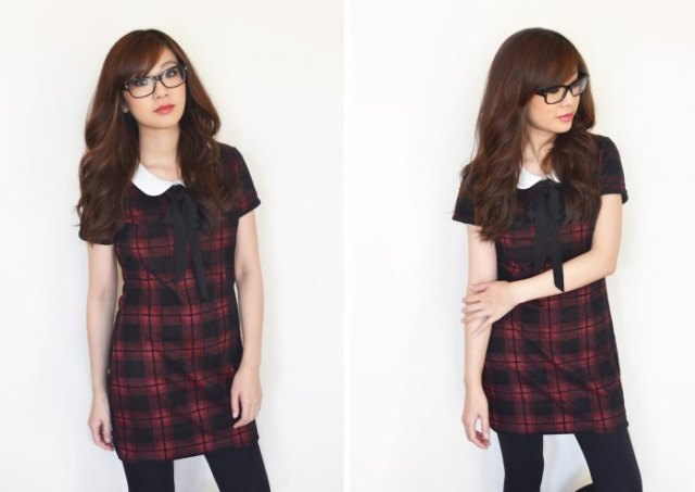 red and black short sleeve mini white collar tartan dress
