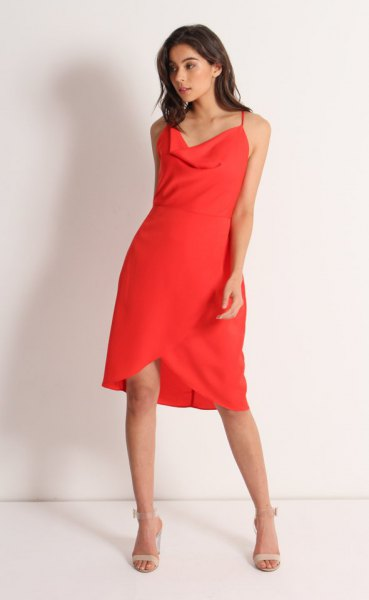 red cowl neck knee length tulip dress