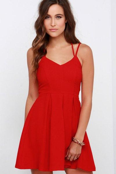 red double strap v neck mini skater dress