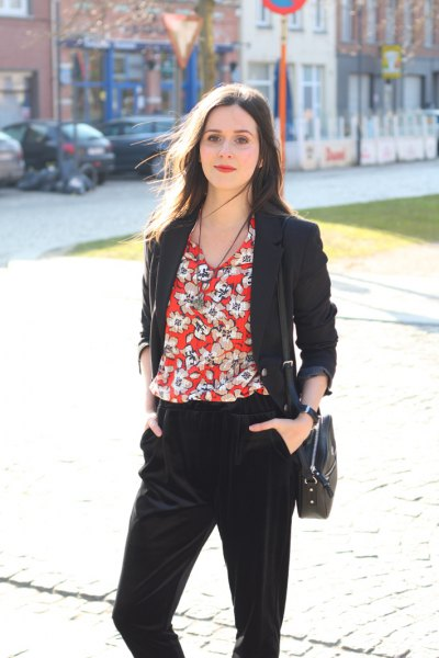 red floral blouse with black blazer