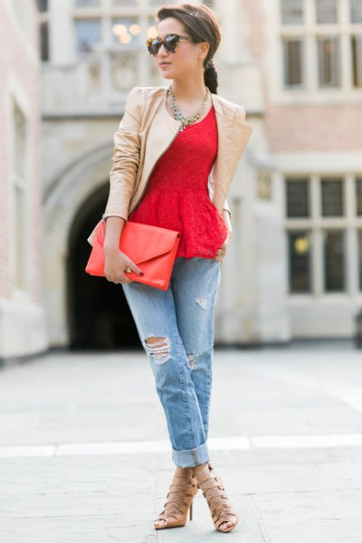 red lace peplum top with blush pink leather jacket
