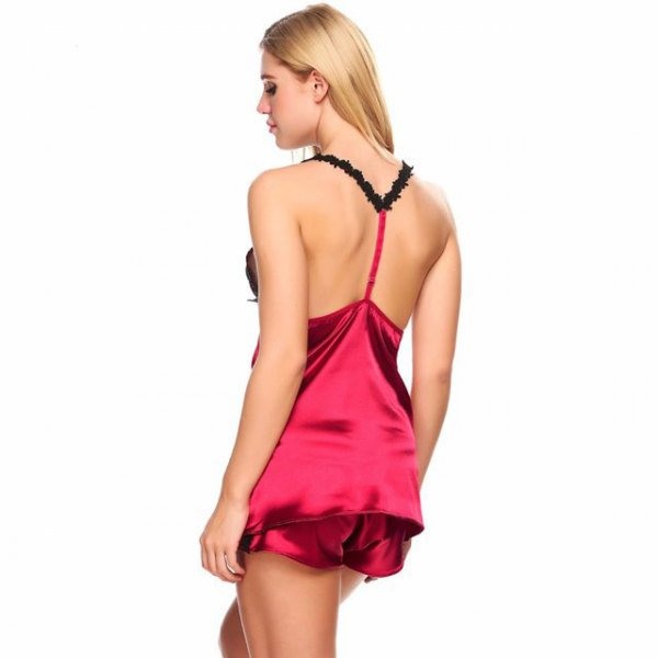 red low back top with silk pajama shorts
