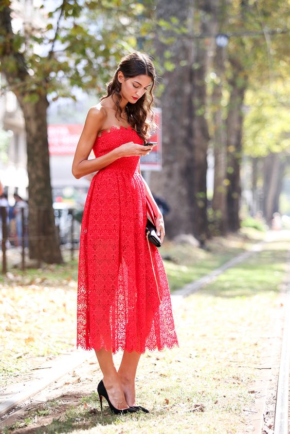 red strapless dress lace