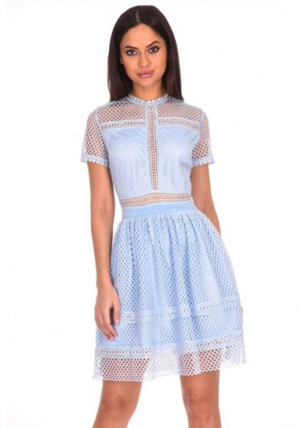 semi sheer crochet mini skater dress