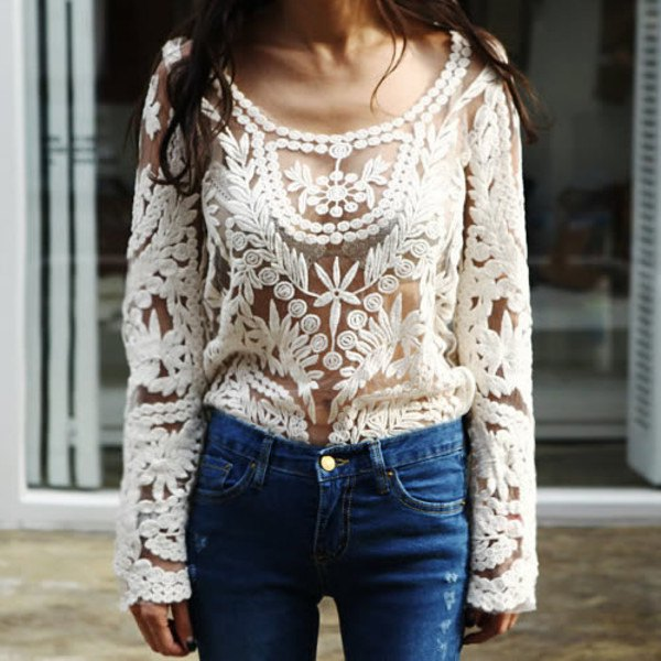 semi sheer lace top over white lace bralette
