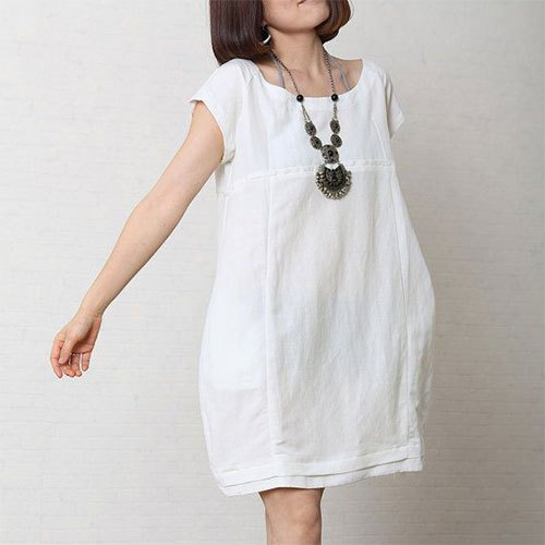 short sleeve mini white cotton dress with boho necklace