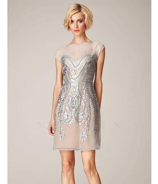 silver chiffon and sequin mini gatsby dress
