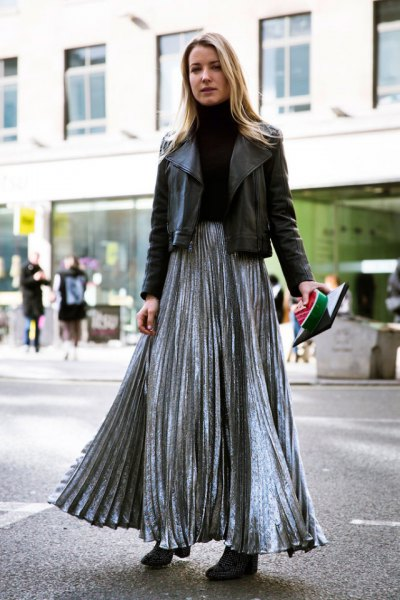 silver pleated skirt with black leather jacket
