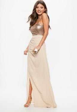 silver sequin vest top with pink high low maxi skirt