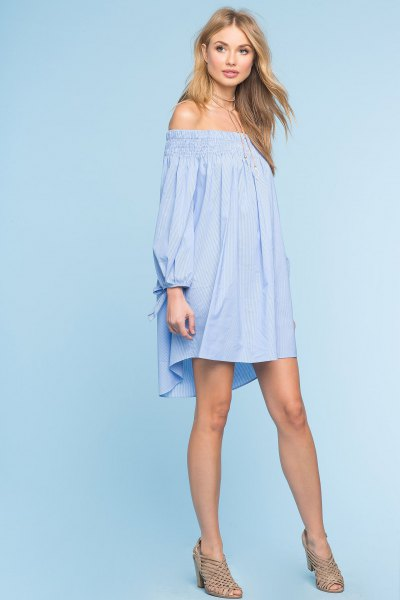 sky blue off the shoulder long sleeve swing mini dress