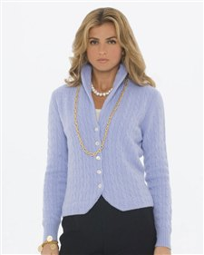 sky blue shawl collar cardigan with gold chain necklace