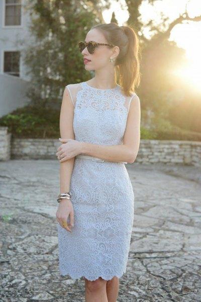 sleeveless baby blue sheath scalloped hem lace dress