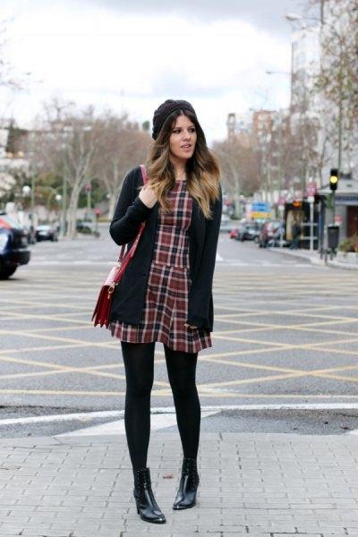 tartan mini dress with black cardigan