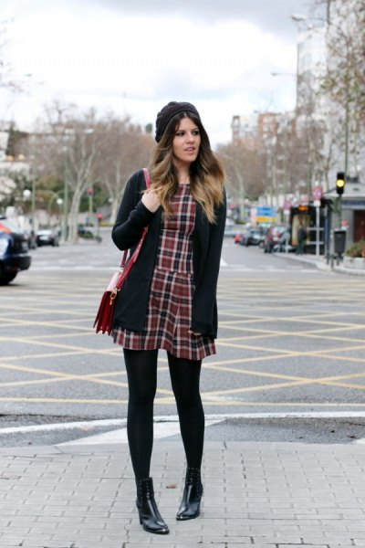 tartan mini dress with black cardigan