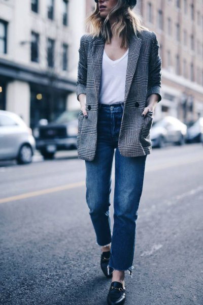 tweed blazer with white v neck t shirt and blue straight leg jeans