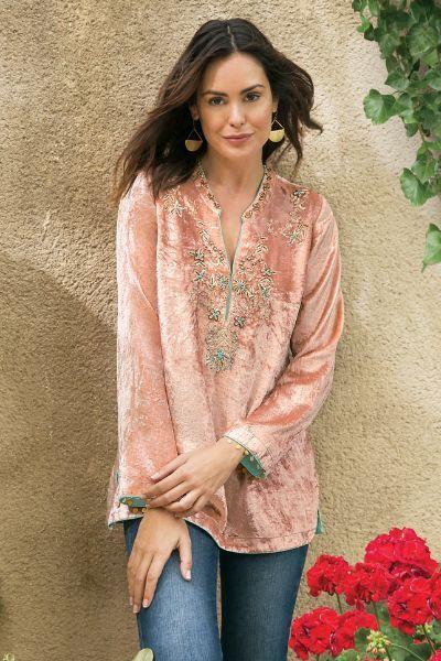 velvet tunic soft pink embellished