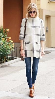 white and grey plaid mock neck tunic sweater