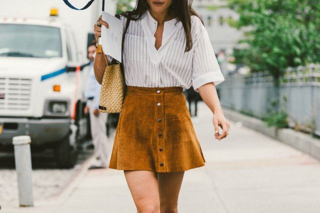 white and grey vertical striped shirt with green suede button down mini skater skirt