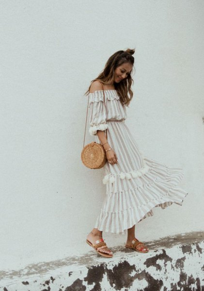 white and pale pink striped off the shoulder ruffle long dress