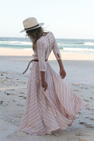 white and pale pink striped ruffle summer dress