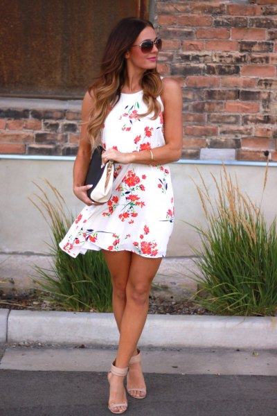white and pink floral swing mini sundress